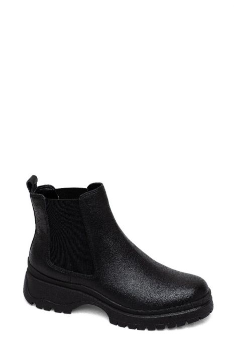 TOKIO   Lug Sole Leather Chelsea Booties in Supple Tumbled Leather