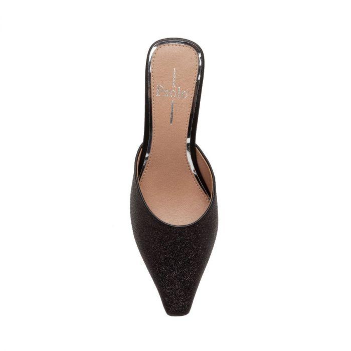 UMI | Svelte Pointy Toe Mid-Heel Shimmer Vegan Leather Slide