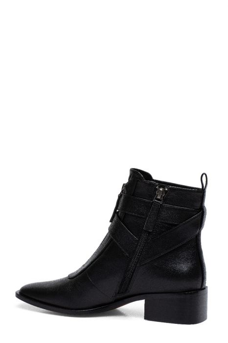 VALONA   Svelte Square Toe Stack Heel Belted Dress Booties in Leather or Suede