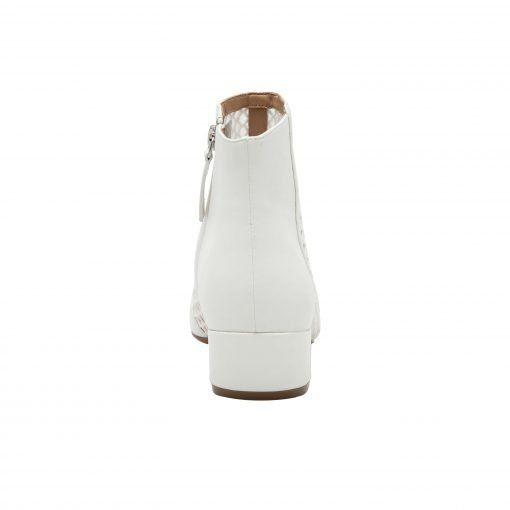 VIDA | Mesh Detailed Pointy Toe Low Block Heel Leather Booties