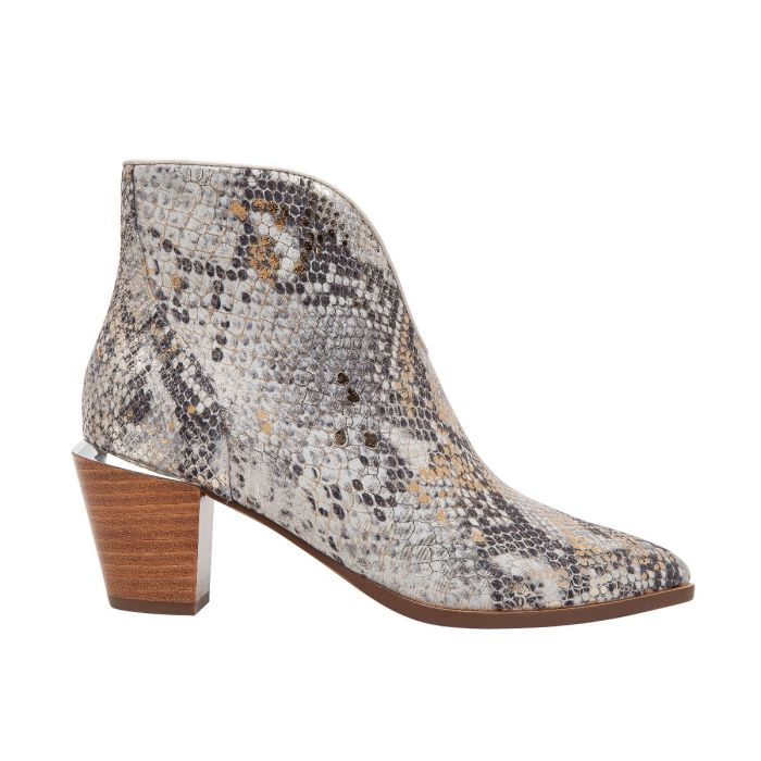 WESTLY II | A Pretty Stack Cone Heel Pixie Bootie with a Scooped-Out Throat