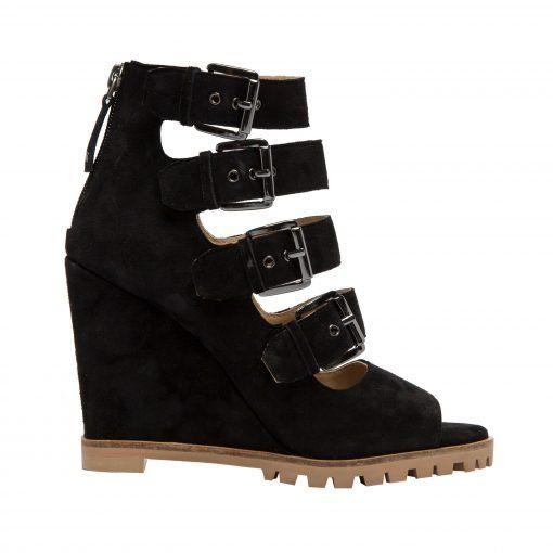 WISTERIA   Fashion Forward High Wedge Multi Strap Peep Toe Suede Bootie