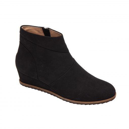 YURI | A Refined Yet Sporty Cuffed Low Wedge Heel Ankle Bootie in Leather or Nubuck