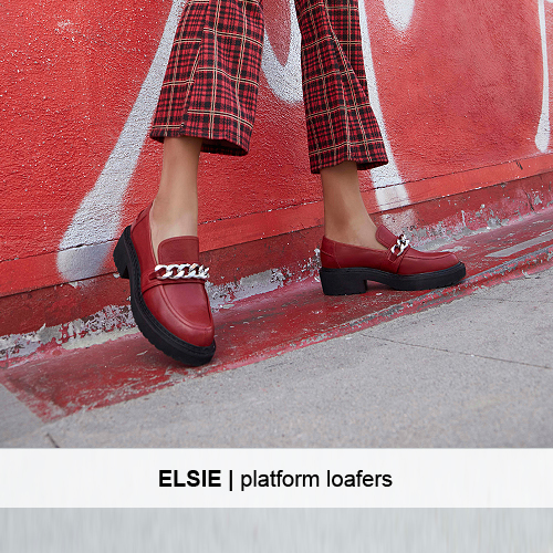 ELSIE Leather Loafers red