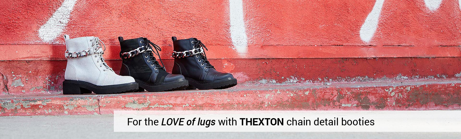 THEXTON lug sole chain detail combat booties